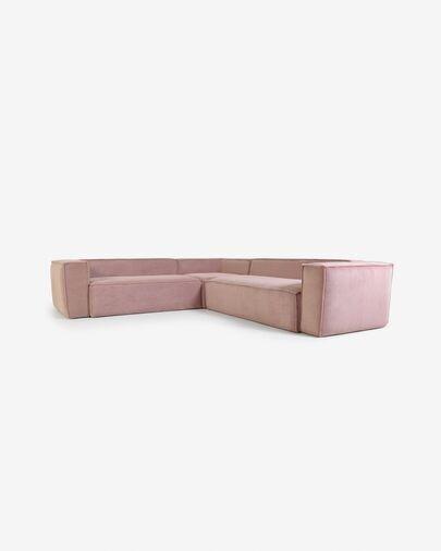 Sofá rinconero Blok 4 plazas pana rosa 290 x 290 cm