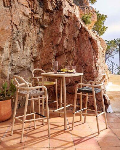 Mesa alta Sheryl madera maciza eucalipto 75 x 75 cm FSC 100%
