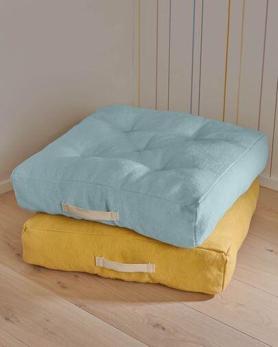 Cojín para suelo Sarit 100% algodón mostaza 60 x 60 cm