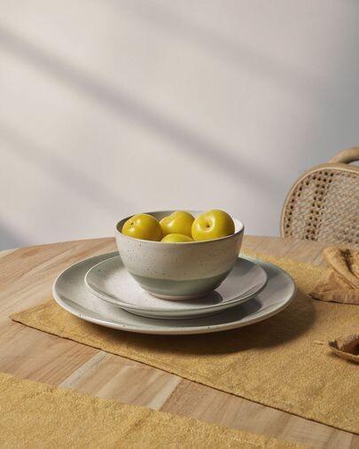 Plato plano Elida de cerámica beige y verde