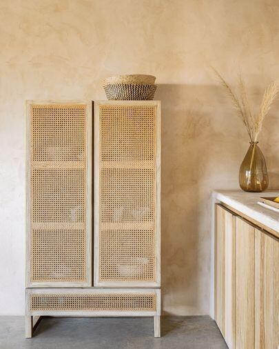 Armario Rexit madera maciza y chapa mindi con ratán 90 x 160 cm