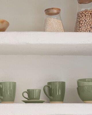 Taza de café con plato Tilia cerámica color verde oscuro