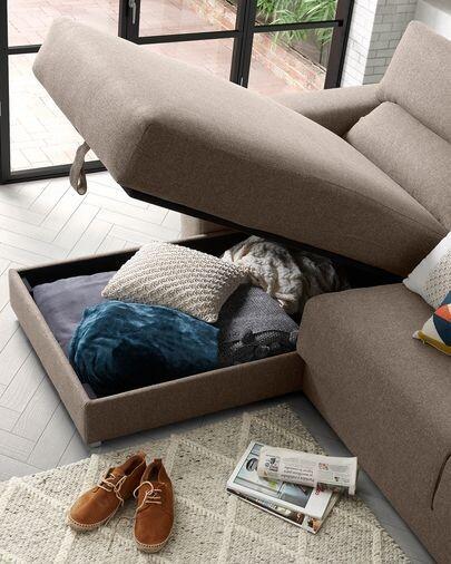 Sofá Atlanta 3 plazas chaise longue marrón 290 cm