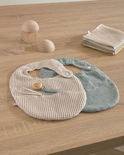 Set Lupe de 2 baberos 100% algodón orgánico (GOTS) beige y turquesa