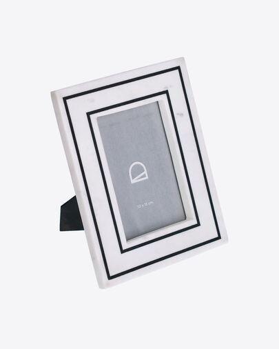 Marco de fotos Vittoria de mármol blanco y negro 23 x 18 cm