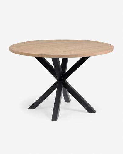 Mesa redonda Full Argo de melamina acabado natural patas de acero acabado negro Ø 119 cm