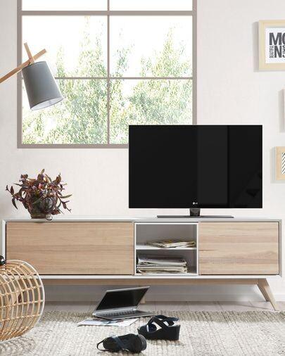 Mueble TV Eunice 174 x 56 cm con chapa de fresno de 2 puertas