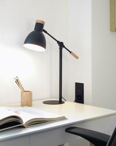 Lámpara de mesa Tescarle de madera de haya y acero con acabado negro