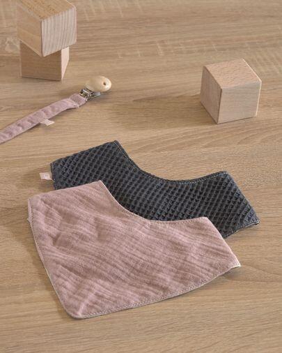 Set Marinet de 2 bandanas 100% algodón orgánico (GOTS) rosa y azul