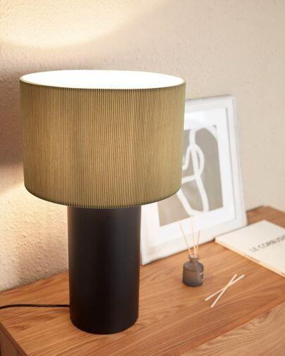 Lámpara de mesa Domicina de metal con acabado negro y gris