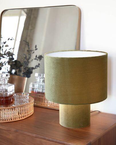 Lámpara de mesa Eastend de terciopelo verde