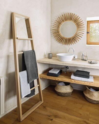 Colgador con espejo Fiavina madera maciza caoba 55 x 180 cm