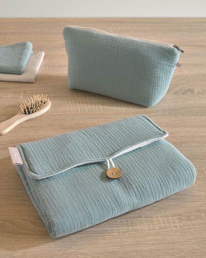 Cambiador de viaje Jeila 100% algodón orgánico (GOTS) turquesa