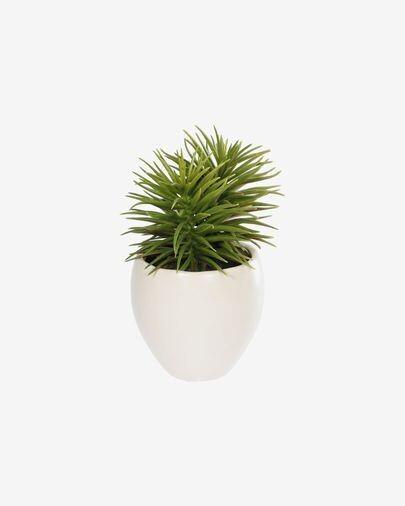 Planta artificial Pino con maceta de cerámica blanco 16 cm