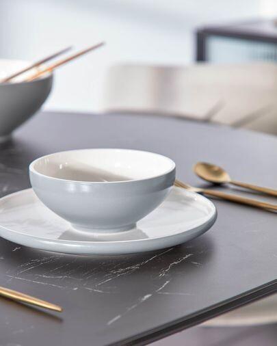 Bol Sadashi pequeño de porcelana blanco y gris