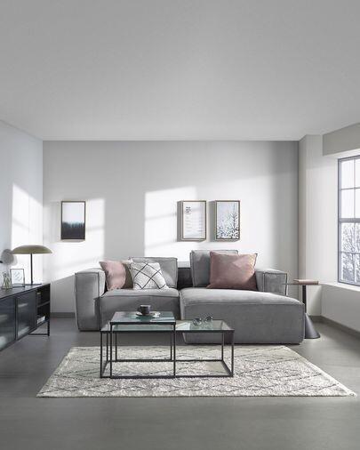 Sofá Blok 2 plazas chaise longue derecho pana gris 240 cm
