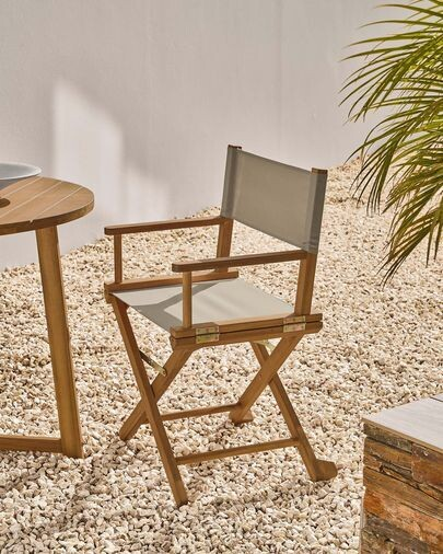 Silla plegable de exterior Dalisa verde y madera maciza acacia FSC 100%