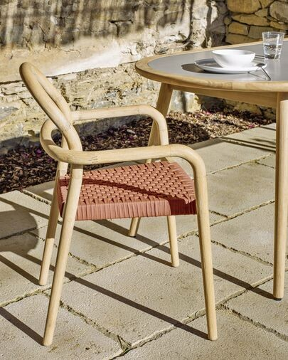 Silla Sheryl madera maciza eucalipto y cuerda terracota  FSC 100%