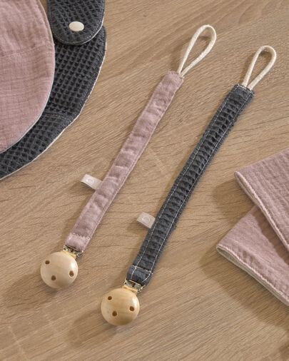 Set Marinet de 2 chupeteros 100% algodón orgánico (GOTS) rosa y azul