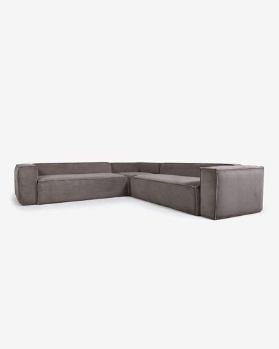 Sofá rinconero Blok 6 plazas pana gris 320 x 320 cm