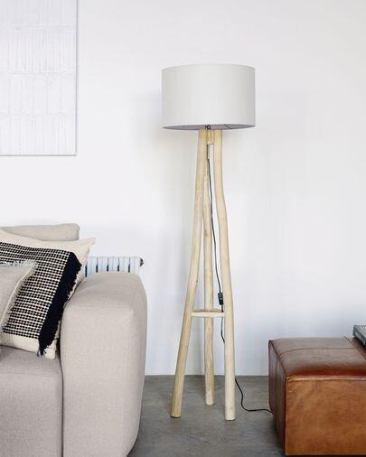 Lámpara de pie Lucelia blanco y madera maciza teca