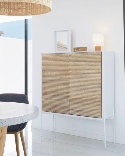 Aparador Marielle de chapa de fresno y lacado blanco 107 x 140 cm