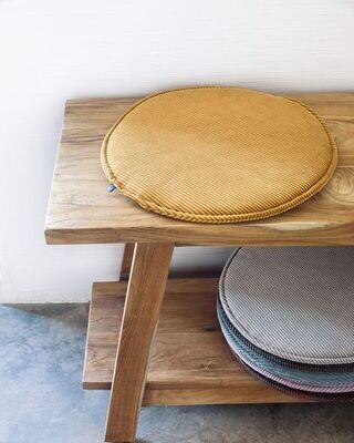 Cojín para silla redondo Sora pana mostaza Ø 35 cm