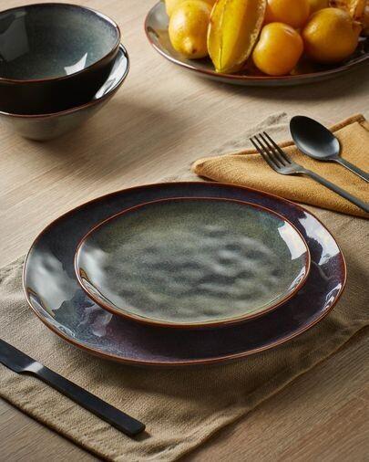 Plato plano Odile de cerámica azul oscuro