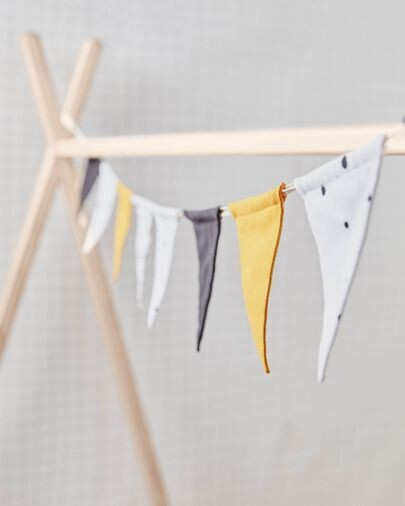 Guirnalda con banderines Zalia 100% algodón orgánico (GOTS) amarillo