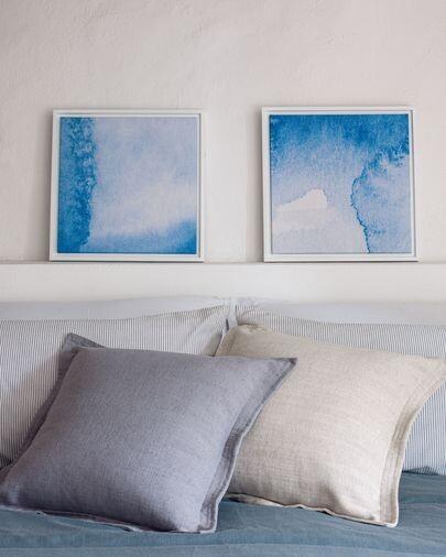 Set Maeva de 2 cuadros de aguas azul y blanco 40 x 40 cm