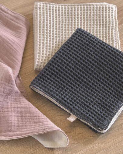 Set Indi de 3 toallas 100% algodón orgánico (GOTS) rosa beige y gris