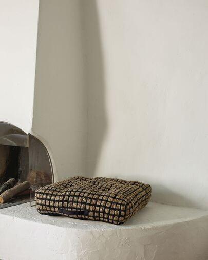 Cojín de suelo y palet Adelma yute y algodón negro y natural 63 x 63 cm