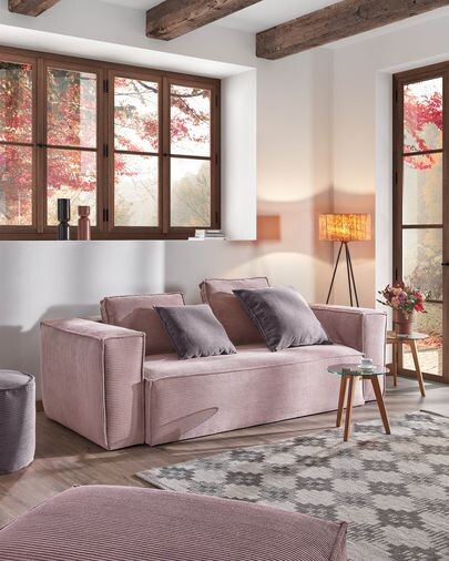 Sofá Blok 2 plazas pana rosa 210 cm