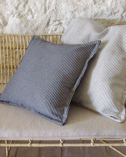Funda cojín Aleria algodón rayas gris y blanco 60 x 60 cm