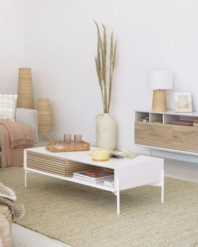 Mesa de centro Marielle de chapa de fresno y lacado blanco 147 x 70 cm