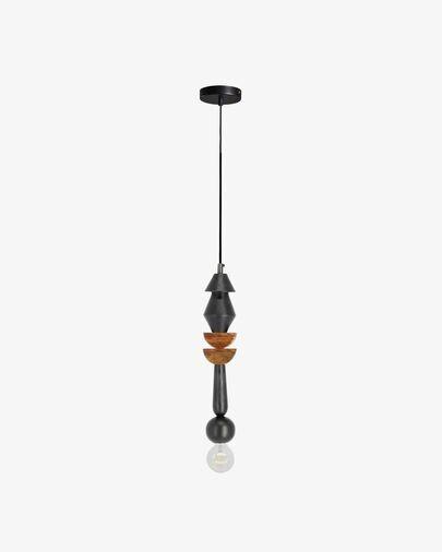 Lámpara de techo Jellis con 2 semicírculos de madera maciza de mango