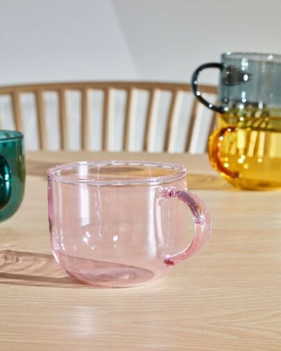 Taza de café Alahi de vidrio rosa