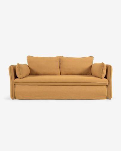 Sofá cama Tanit mostaza y patas de madera maciza de haya con acabado natural 210 cm