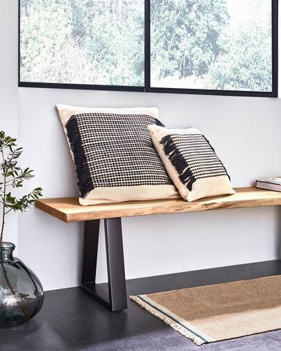 Banco Alaia de madera maciza de acacia y patas de acero negro 160 cm