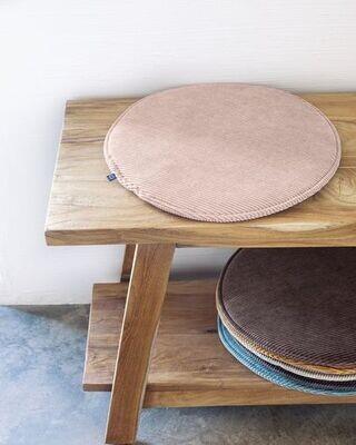 Cojín para silla redondo Sora pana rosa Ø 35 cm