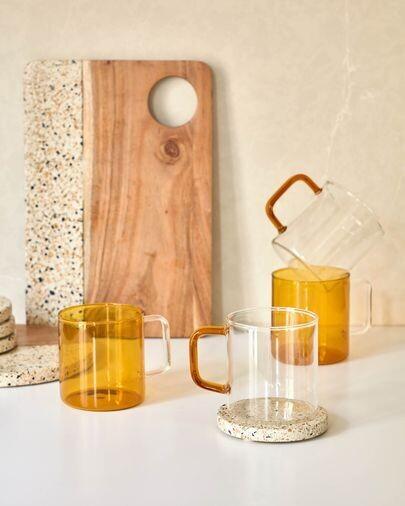 Taza Coralie vidrio naranja y transparente