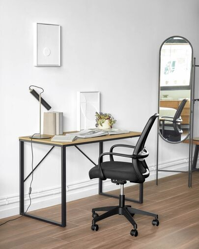 Lámpara de mesa Maude de metal con acabado negro