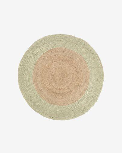 Alfombra redonda Adabel de yute natural y color verde Ø 120 cm
