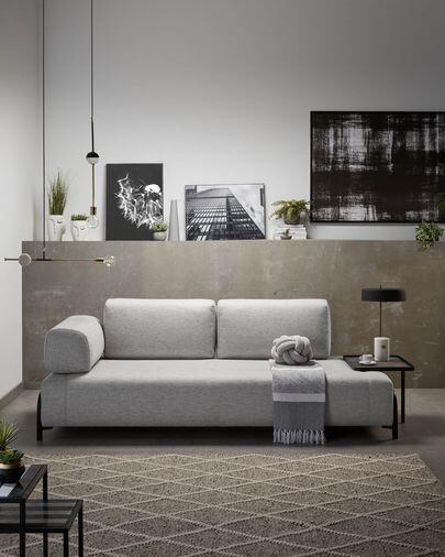 Sofá Compo 3 plazas gris claro con bandeja grande 252 cm
