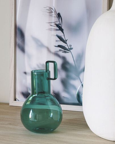 Jarrón Kei vidrio turquesa 16,5 cm