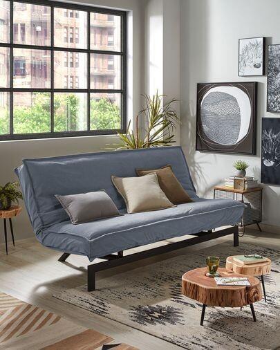 Sofá cama Eveline 195 cm azul estructura metal