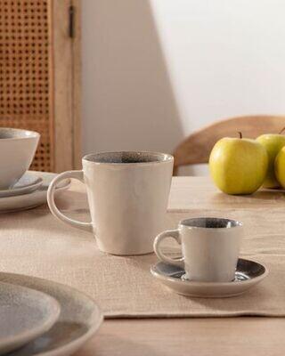 Taza de café con plato Sachi de cerámica azul claro