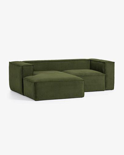 Sofá Blok 2 plazas chaise longue izquierdo pana gruesa verde 240 cm