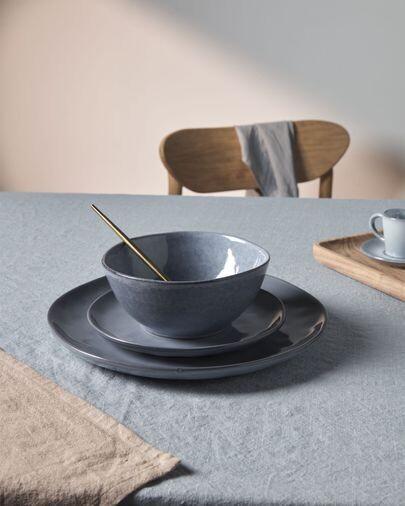 Plato plano Airena de cerámica azul