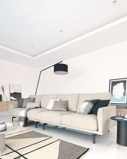Alfombra Bernardine de lana y algodón blanco y negro 160 x 230 cm